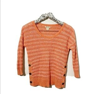 Lucky Brand Orange Stripe Knit Sweater Size Small